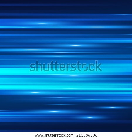 Blue light and stripes moving fast over dark background. Vector illustration. - stock vector