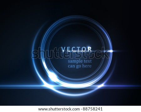 Blue light effects on round placeholder for your text on dark background. EPS10 - stock vector