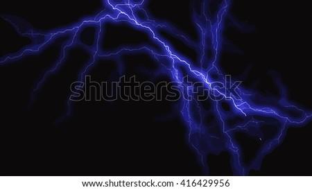 Blue lightning flash on black sky - stock vector