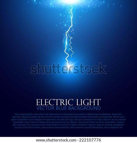 Blue lightning.  Vector illustration - stock vector