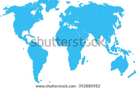 Blue Line Political World Map Illustration