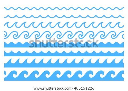 Blue line wave ornament. Seamless vector marine wave decoration pattern background. Paper wave design