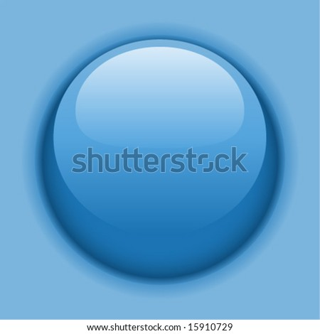 Blue liquid button or icon.  Vector illustration.