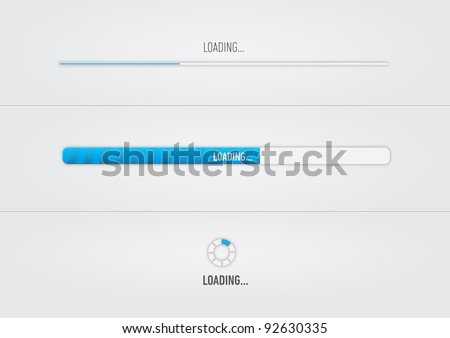 "Blue loading bars and spinner with ""Loading..."" text - stock vector"