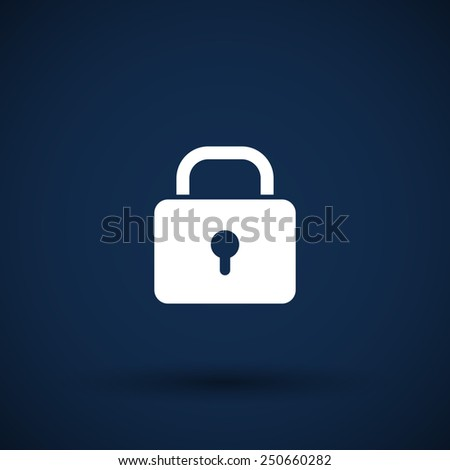 Blue lock icon with protection key password blocked privacy - stock vector