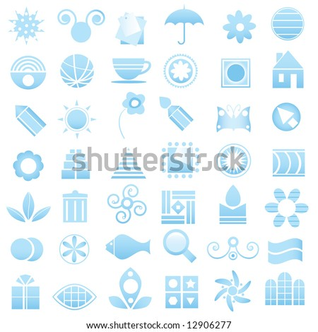 blue logo elements collection - stock vector