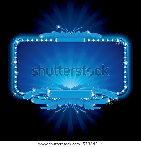 Blue luxury neon sign-vector image, no meshes used - stock vector