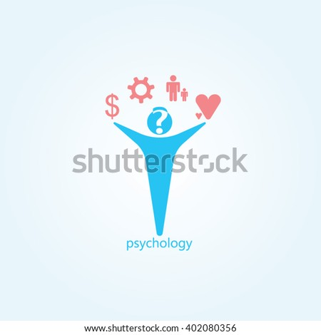 Blue man red icon and gradients background for psychology logo design - stock vector