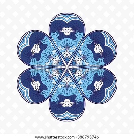 Blue mandala. Decorative items to decorate your work. Vector design elements. Vector graphic elements for design. Geometric fashion pattern. Vector mandala. The circular pattern. - stock vector