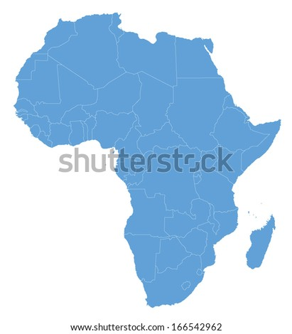 blue map of Africa with outline of all african countries - stock vector