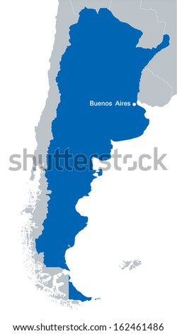 blue map of Argentina with the indication of capital city - Buenos Aires - stock vector