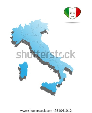 blue map of italy with border and flag