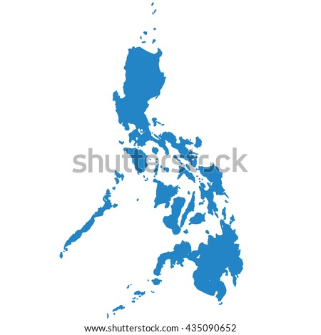 blue map of Philippines - stock vector