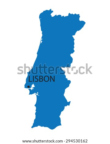 blue map of Portugal with indication of Lisbon - stock vector