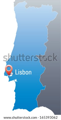 blue map of Portugal with marker in the position with Lisbon - stock vector