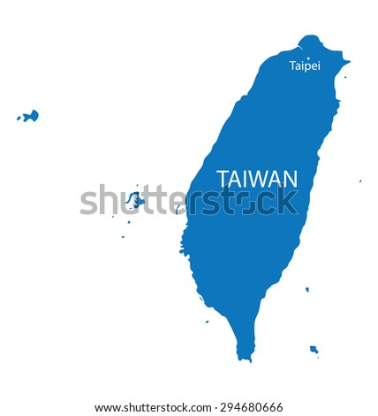blue map of Taiwan with indication of Taipei - stock vector