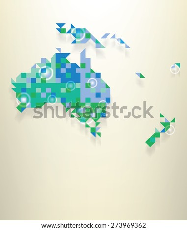 Blue map of the Oceania with round white transparent rings overlay that can be used to locate different points - stock vector
