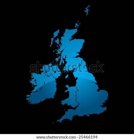 Blue map of the uk divided in two with a shadow and black background