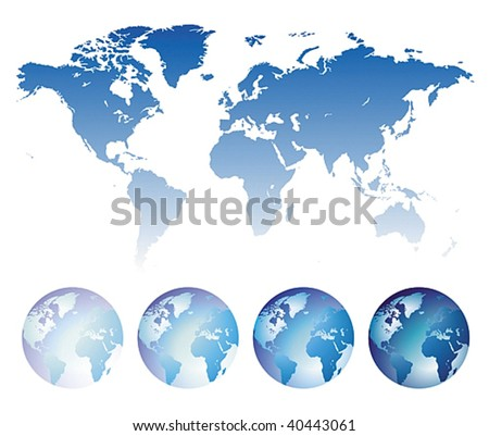 Blue map of the World and globes. Vector illustration.