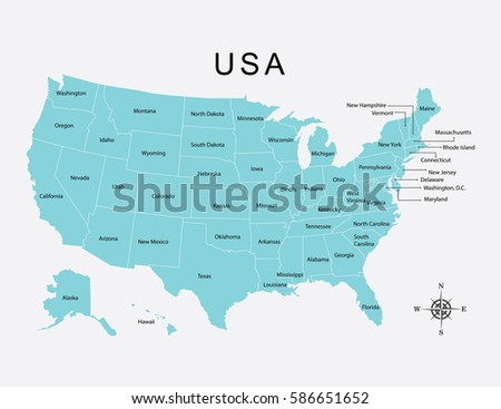 Gray Map United States America On Stock Vector - Gray us map