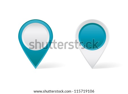 Blue map pins - stock vector
