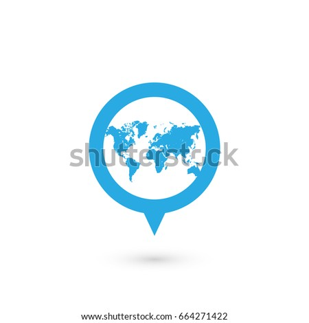 Pin world map icon over white vectores en stock 518576683 shutterstock blue map pointer with world map silhouette icon vector illustration with dropped shadow gumiabroncs Gallery