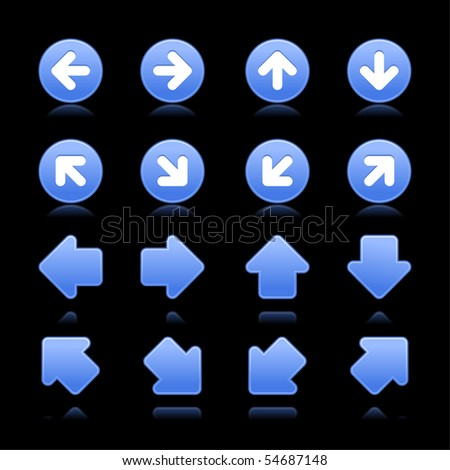 Blue matted web 2.0 arrow symbol button with shadow on black background - stock vector