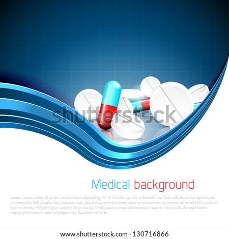 Blue medical background with spilled pills and tablets and copyspace - stock vector