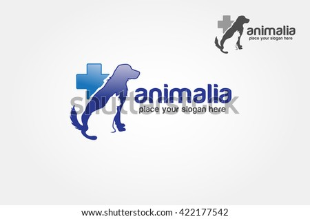 Blue medical veterinary round sign with pet  - stock vector