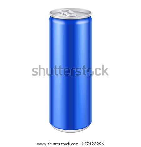 Blue Metal Aluminum Beverage Drink Can 250ml. Mockup Template Ready For Your Design. Isolated On White Background. Product Packing. Vector EPS10 Product Packing Vector EPS10 - stock vector