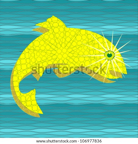 Blue metallic wave background with golden fish - stock vector