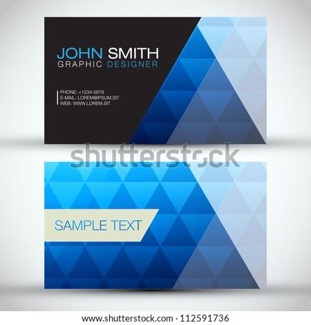 Blue Modern Abstract Business Card Set | EPS10 Vector Design - stock vector