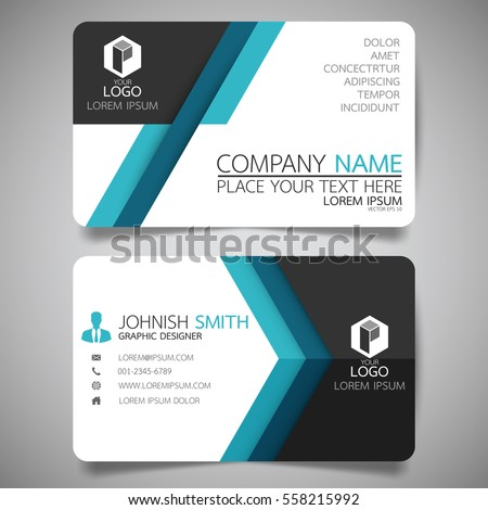 blue modern creative business card name stock vector 558215992