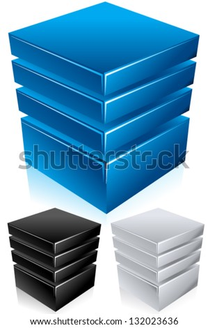 Blue modern database, hosting, server conceptual vector illustration - Shiny and bold in style, comes in blue, black, and silver colors - stock vector