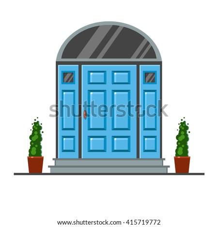 Blue Modern Front Door Two Pots Stock Vector 415719772 Shutterstock