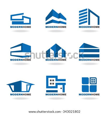 Modern house stock vectors vector clip art shutterstock for Modern house logo