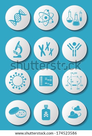 Blue molecular biology science icons on white buttons - stock vector