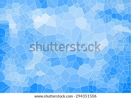 blue mosaic composition with ceramic geometric shapes for your design  - stock vector