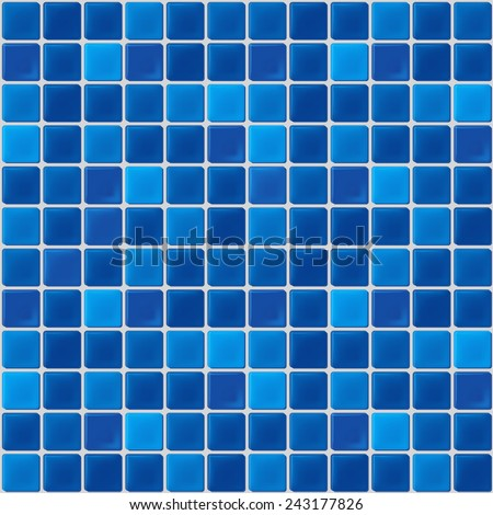 blue mosaic tiles texture with white filling - stock vector