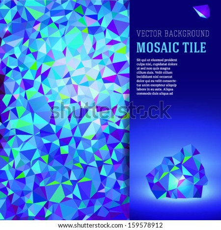 Blue mosaic vector brochure / booklet cover design template. - stock vector