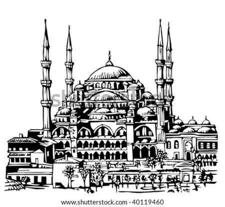Blue Mosque, Istanbul illustration - stock vector
