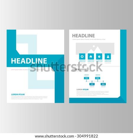 Blue multipurpose presentation brochure flyer template flat design set  - stock vector