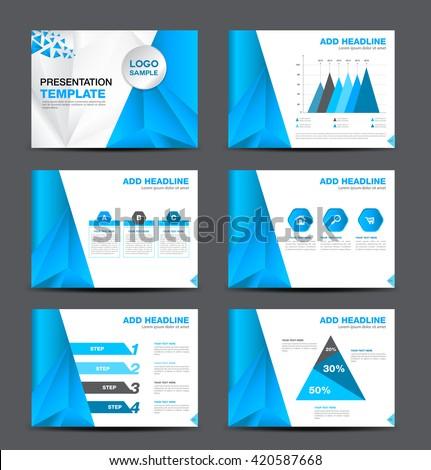Blue Multipurpose Presentation Template Flat Design Stock Vector