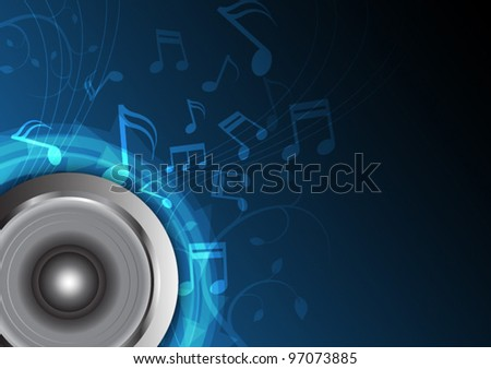 blue music from speaker, abstract vector background - stock vector