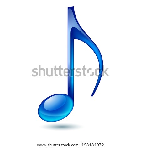 Blue music note isolated on white background.  - stock vector