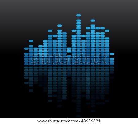 Blue music volume - stock vector