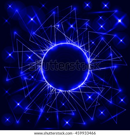 Blue neon circle with triangles. Vector futuristic technical background. Light and neon particles
