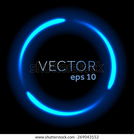 Blue neon flowing lights circle - stock vector