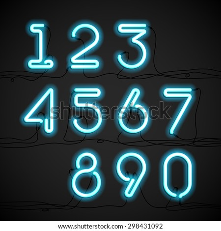 Blue neon light alphabet numbers with cable. Vector. - stock vector