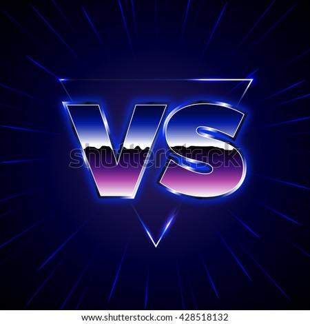 M Rank Blue Neon Versus Logo Vs